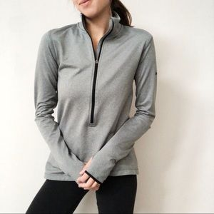 Gray Nike Pro Dri Fit Popover Workout Top